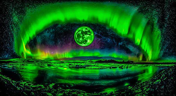 Ron Fleishman - Northern Lights Moon and Stars