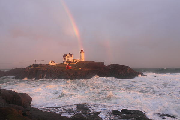 Nubble Lighthouse Rainbow And Surf At Sunset Print by John Burk