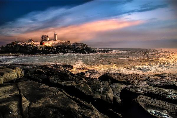 Nubble Lighthouse Winter Solstice Sunset Print by Bob Orsillo