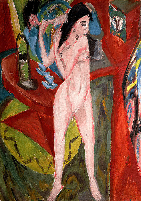 Nude Woman Combing Her Hair Print by Ernst Ludwig Kirchner