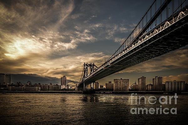 Nyc - Manhatten Bridge - Hdr- Sun Print by Hannes Cmarits