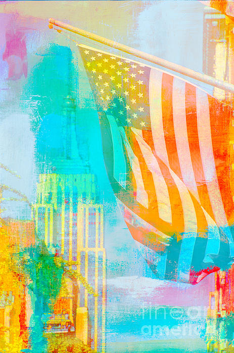 Nyc American Flag Pop Art Print by AdSpice Studios