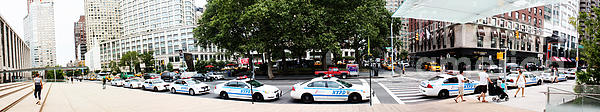 Nypd Cop Cars In Front Of Lincoln Center Print by Nishanth Gopinathan