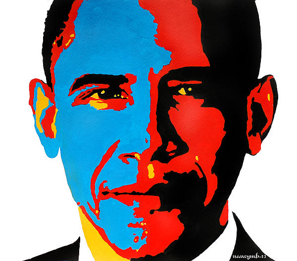 Obama Gouached Print by Nancy Mergybrower