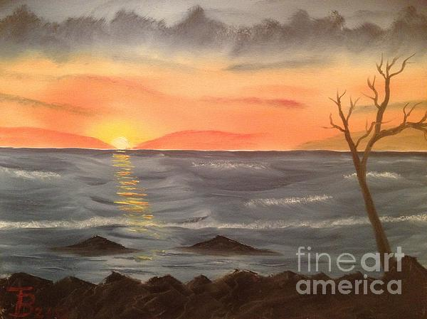 Ocean At Sunset Print by Tim Blankenship