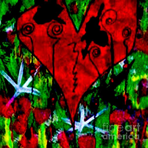 Oh My Pink Heart Print by Donna Daugherty