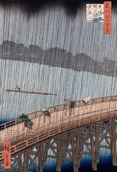 Ohashi Sudden Shower At Atake Print by Ando Hiroshige