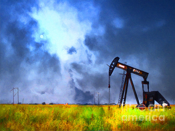 Oil Pump Field Print by Wingsdomain Art and Photography