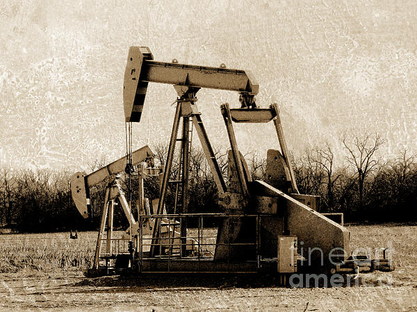 Oil Pump Jack In Sepia Print by Ann Powell