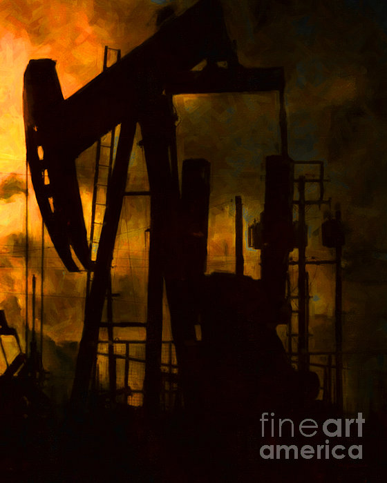 Oil Pumps - Vertical Print by Wingsdomain Art and Photography