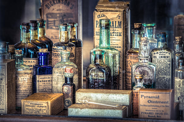 Ointments Tonics And Potions - A 19th Century Apothecary Print by Gary Heller