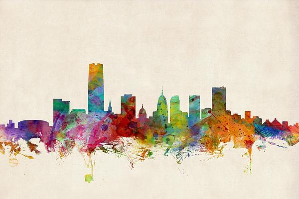 Oklahoma City Skyline Print by Michael Tompsett