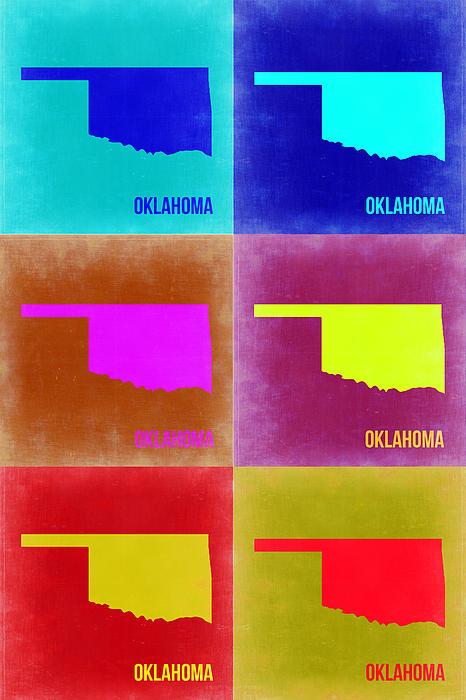 Oklahoma Pop Art Map 2 Print by Naxart Studio