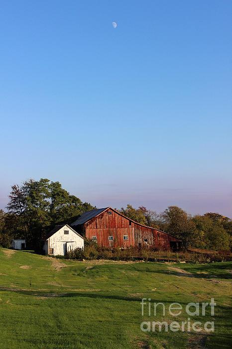 Old Barn At Sunset Print by Karen Adams