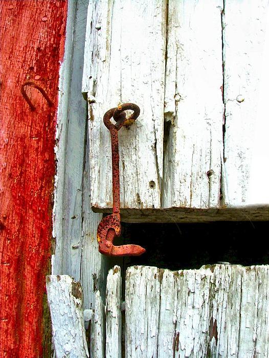 Old Barn Door Hook Print by Julie Dant