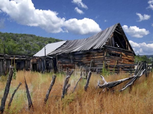 Old Barn Las Trampas New Mexico Print by Kurt Van Wagner