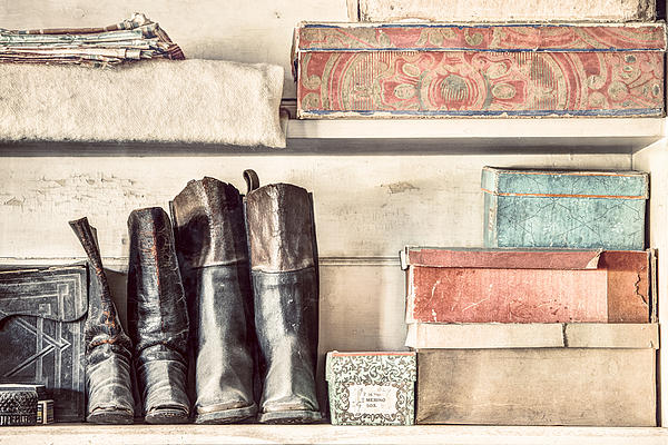 Old Boots And Boxes - On The Shelves Of A 19th Century General Store Print by Gary Heller