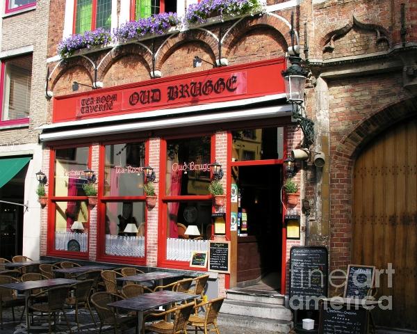 Old Brugge Tavern Print by Mel Steinhauer