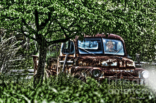 Old Car With Ghost Driver Print by Dan Friend