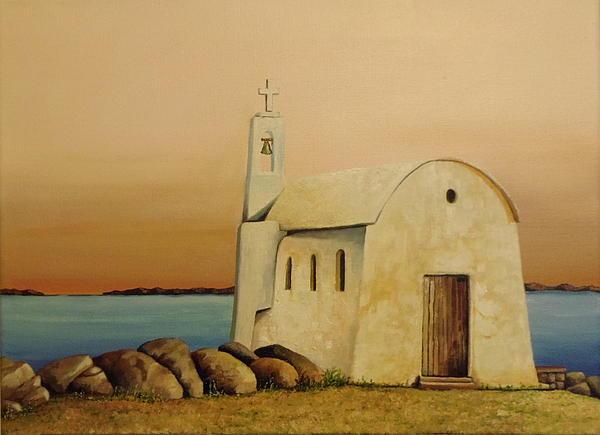 Old Chapel On Mykonos Print by Martin Schmidt