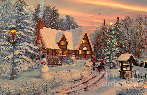Old Christmas Cottage Print by Dominic Davison