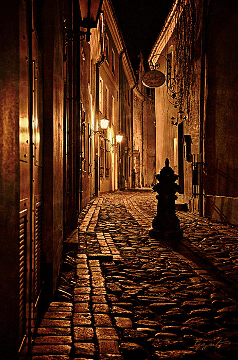 Old City Street In The Night Print by Gynt
