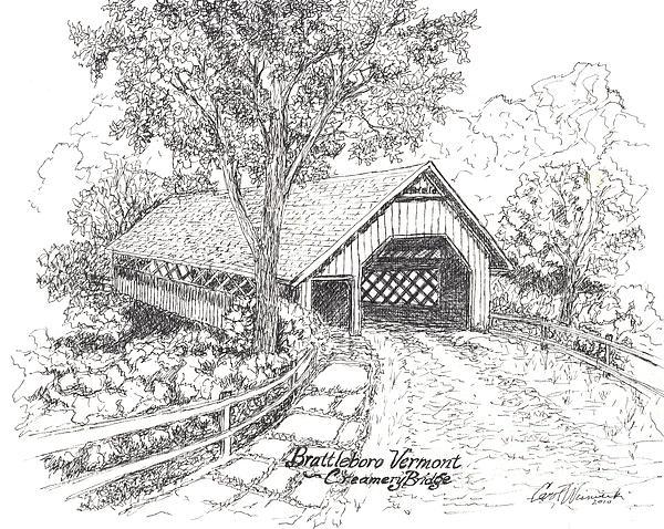 Old Creamery Bridge In Brattleboro Vermont Print by Carol Wisniewski
