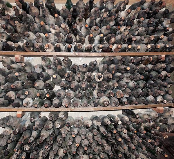 Old Dusty Wine Bottles Print by Christina Rahm