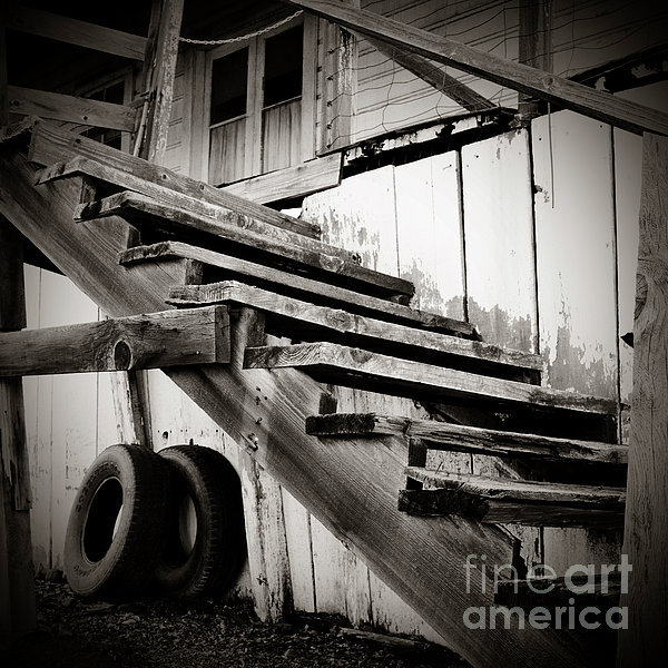 Old Farm Stairs Print by Charmian Vistaunet
