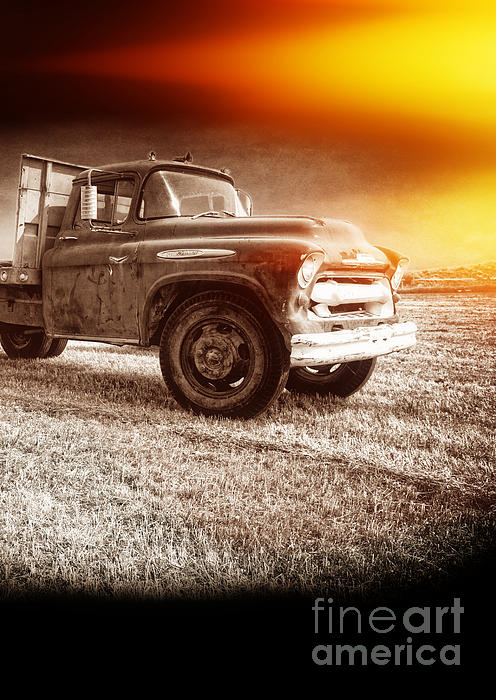 Old Farm Truck With Explosion At Night Print by Edward Fielding