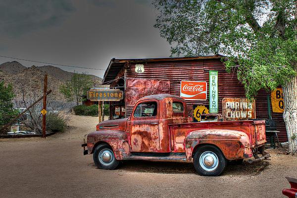 Old Ford Pickup On Route 66 Print by Lynn Jordan