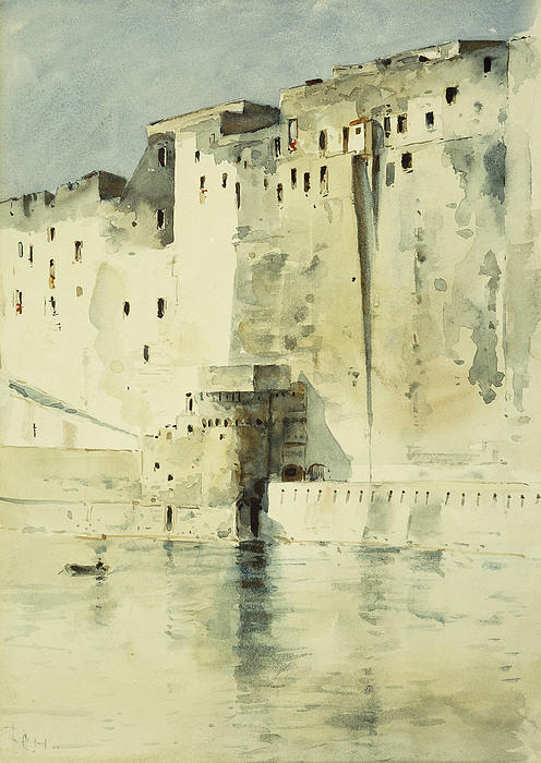 Old Fortress Naples Print by Childe Hassam