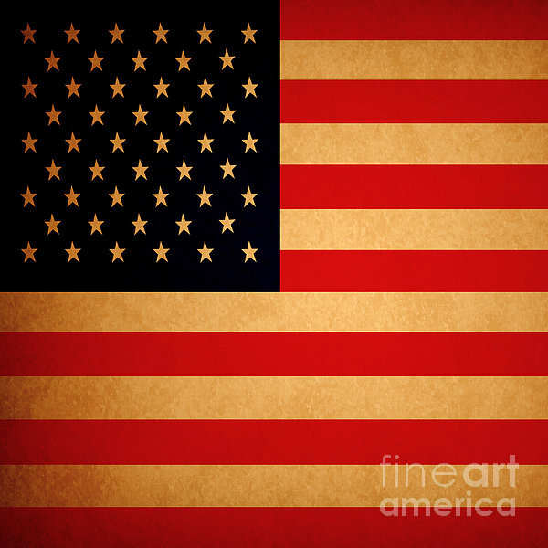 Old Glory . Square Print by Wingsdomain Art and Photography