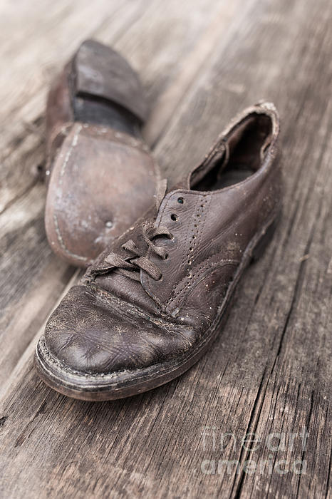 Old Leather Shoes On Wooden Floor Print by Edward Fielding