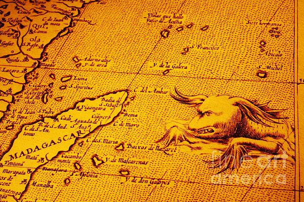 Old Map Of Africa Madagascar With Sea Monster Print by Colin and Linda McKie