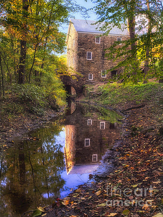 Old Mill Reflected In A Creek Print by George Oze