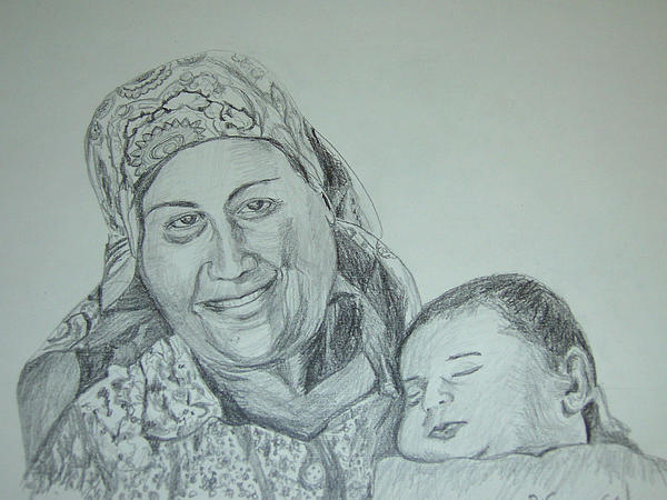 Old Mother With New Baby Print by Esther Newman-Cohen