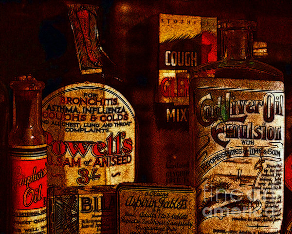 Old Pharmacy Bottles - 20130118 V2b Print by Wingsdomain Art and Photography