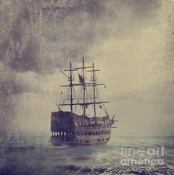 Old Pirate Ship Print by Jelena Jovanovic