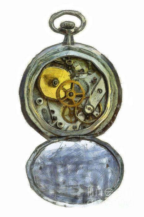 Old Pocket Watch Print by Michal Boubin
