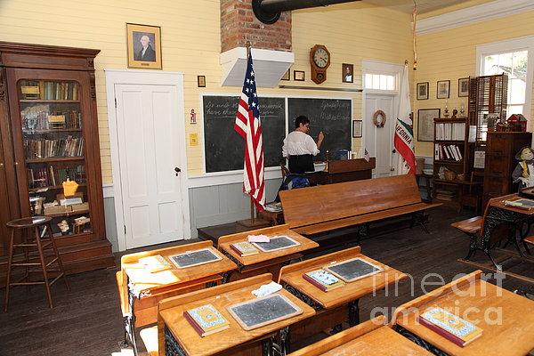 Old Sacramento California Schoolhouse Classroom 5d25780 Print by Wingsdomain Art and Photography