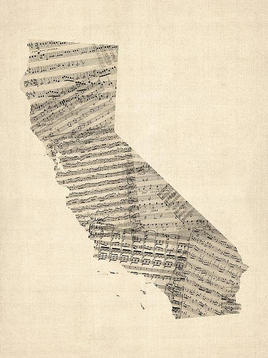 Old Sheet Music Map Of California Print by Michael Tompsett