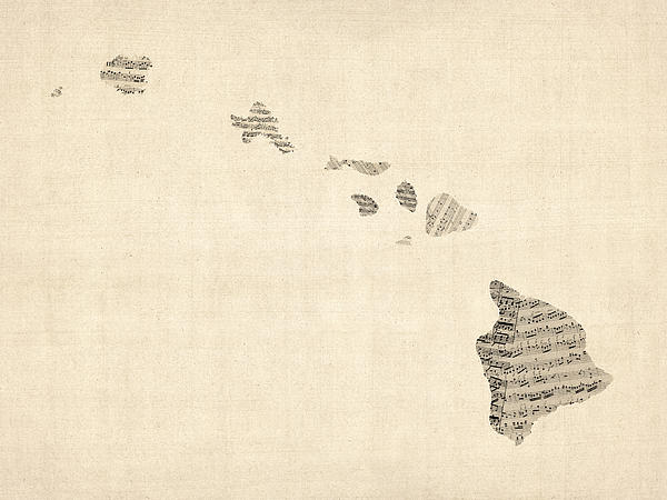 Old Sheet Music Map Of Hawaii Print by Michael Tompsett