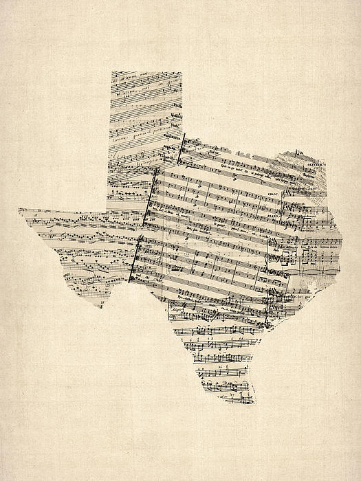 Old Sheet Music Map Of Texas Print by Michael Tompsett