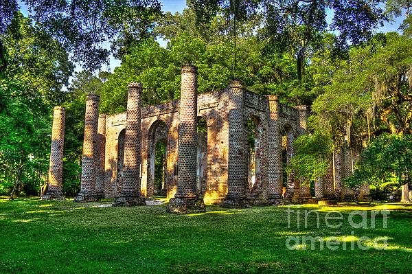 Old Sheldon Church Ruins In South Carolina Print by Reid Callaway