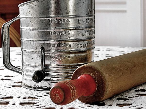 Old Sifter And Rolling Pin Print by Janice Drew