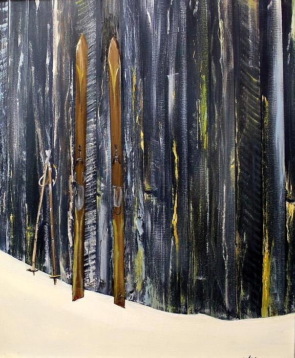 Old Skiis Print by Ken Ahlering