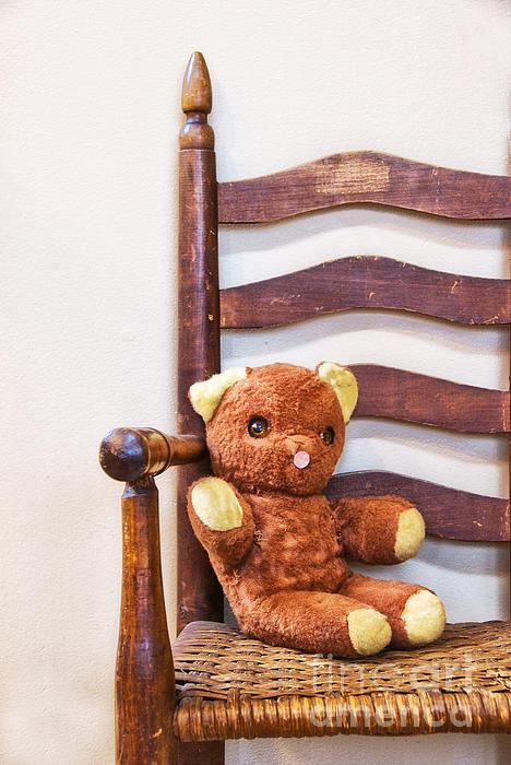 Old Teddy Bear Sitting In Chair Print by Birgit Tyrrell
