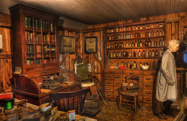 Old Time Pharmacy - Pharmacists - Druggists - Chemists   Print by Lee Dos Santos