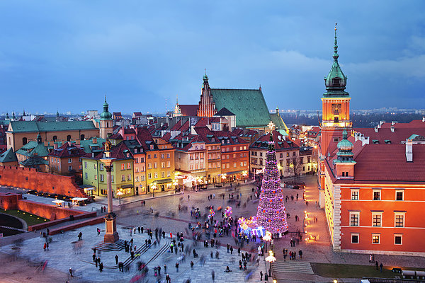 Old Town In Warsaw At Evening Print by Artur Bogacki